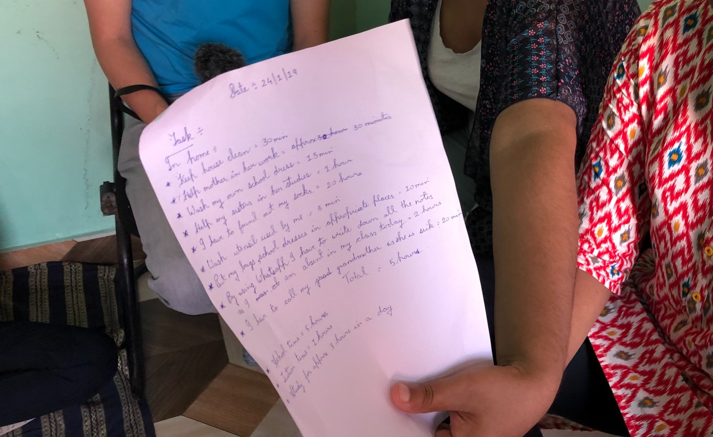 Photo of a task list written by a girl in Jharkhand